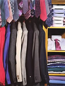 A cluttered wardrobe